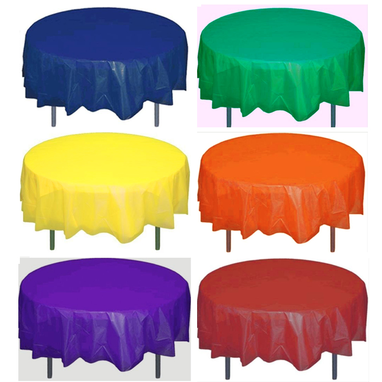 225 & Round Plastic Table Cover 84 Inches
